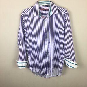 Robert graham purple and white striped shirt
